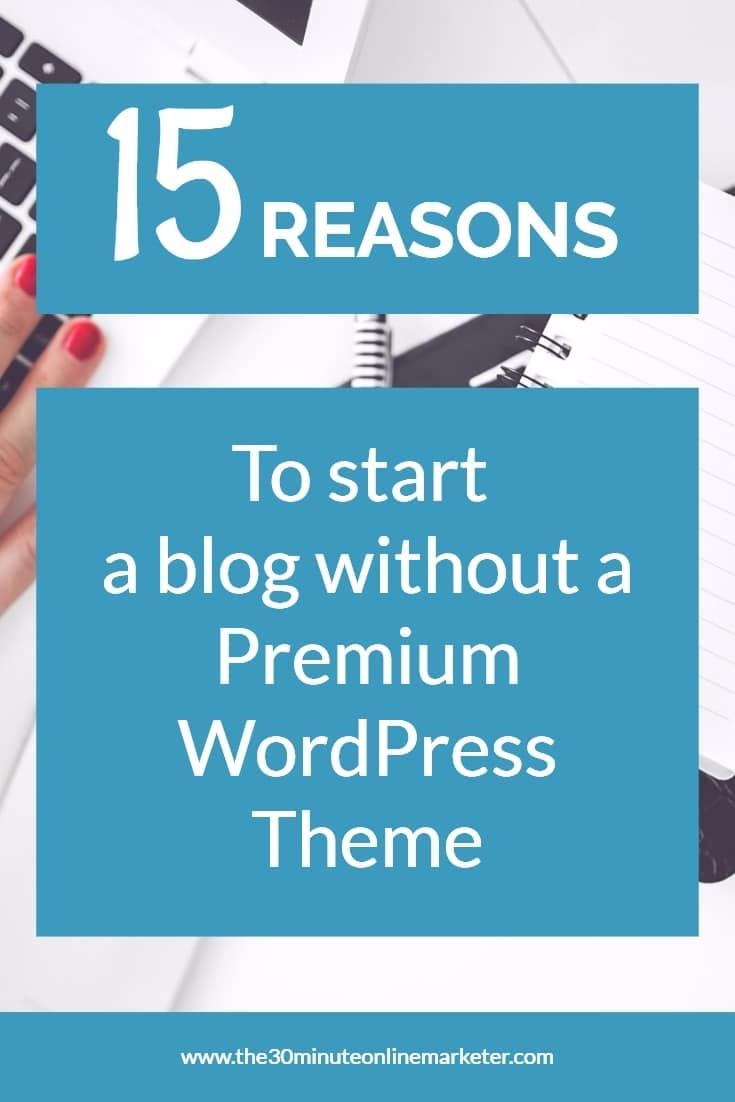 15 reasons to start a blog without a Premium WordPress Theme #startablog #bloggingtips