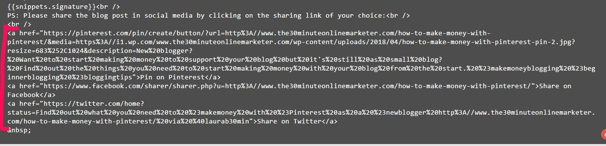 Sharing links added to Drip email