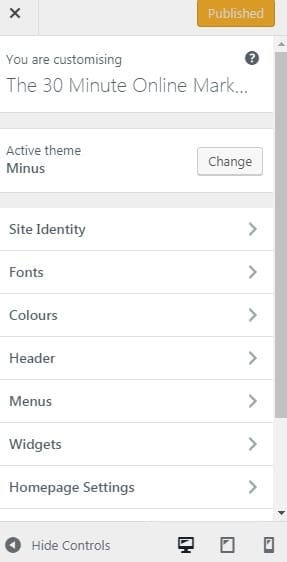 Customising your theme