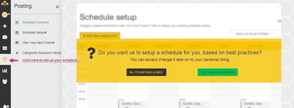 Setting up your schedule to automate your social media in SocialBee