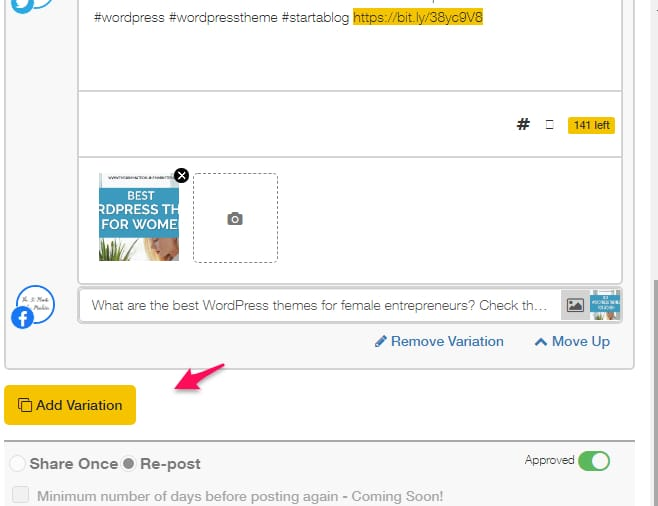 Adding a variation to a post in SocialBEE. Twitter Tips for Beginner Bloggers