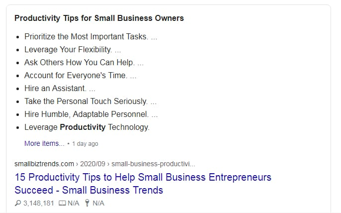 Example of Google Featured Snippets