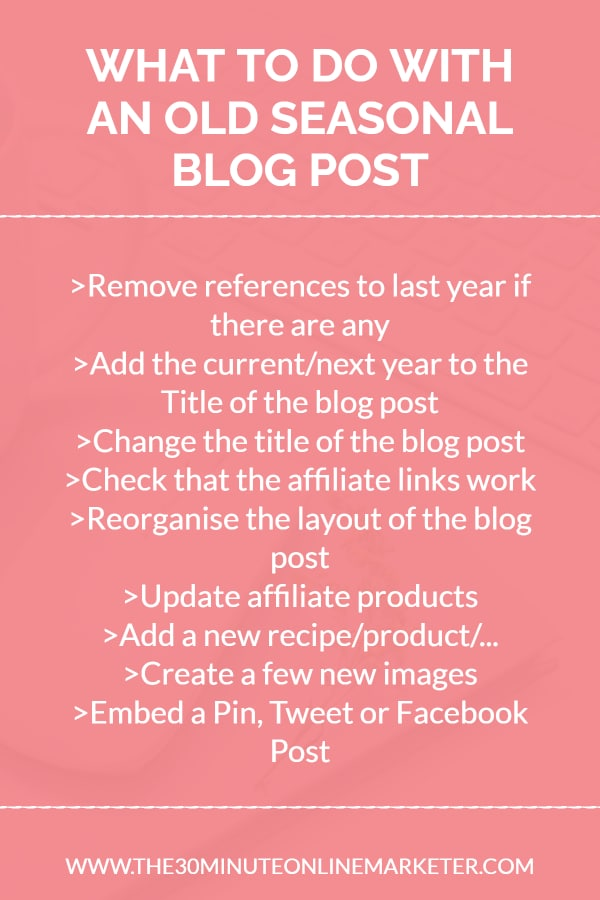 What to do with old seasonal blog posts