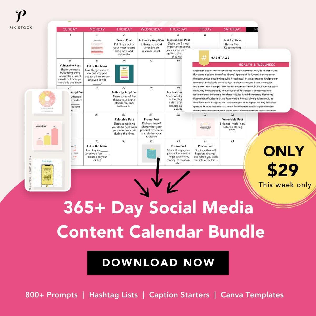 Pixistock social media content calendar