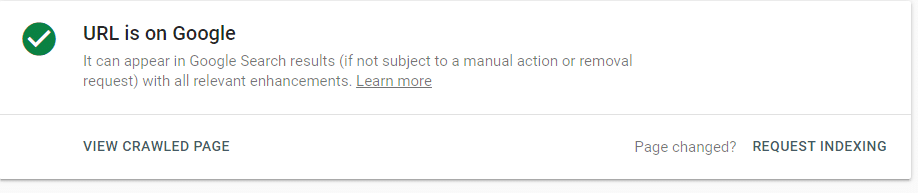 requesting indexing in Google Search Control