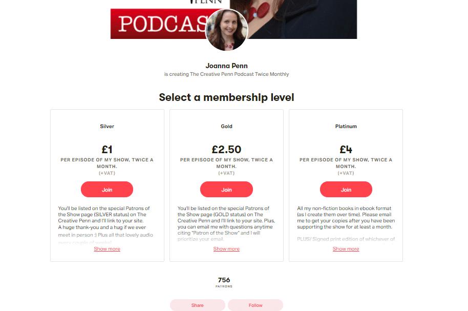 Joanna Pen podcast - Patreon
