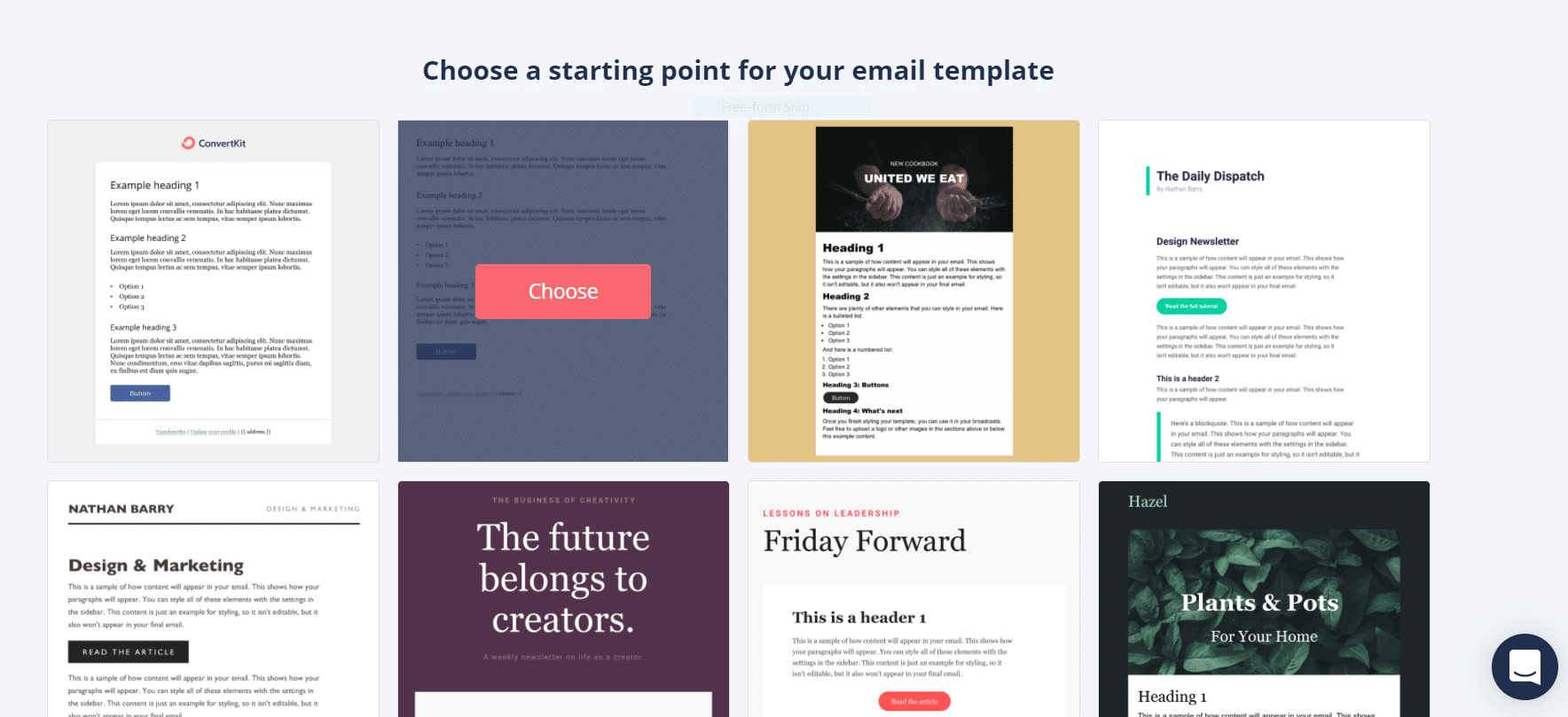 How to choose an email template in ConvertKit